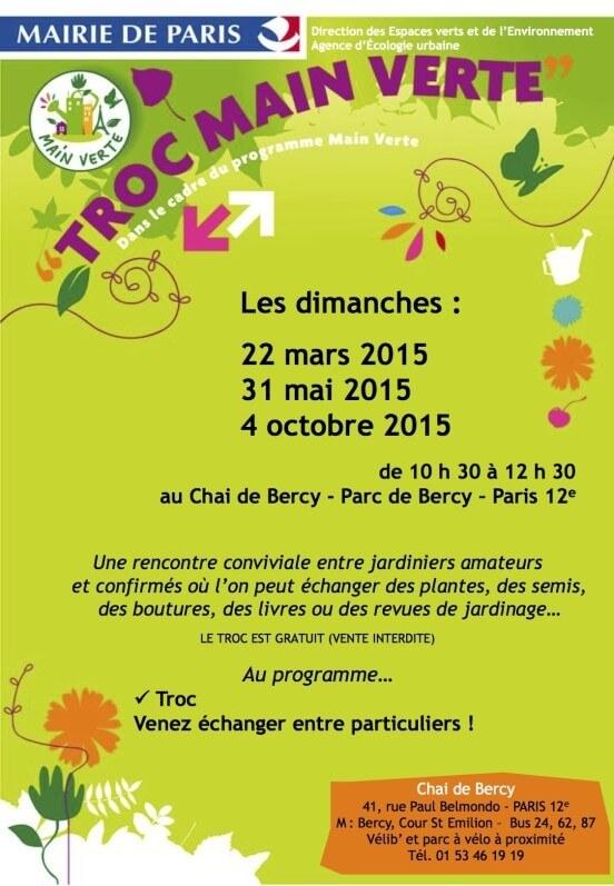 Affiche des Trocs Main Verte, Chai de Bercy, Paris 12e (75), mars, mai et octobre 2015