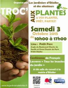 Troc aux plantes et conférence de François Lasserre, Etiolles (91), octobre 2015