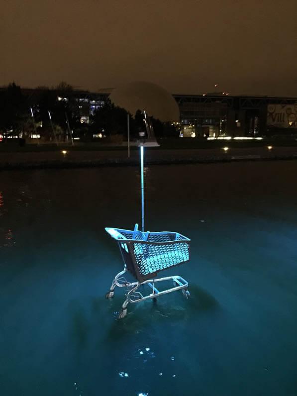Caddy, L'eau qui dort, Michael Pinsky, canal de l'Ourcq, parc de la Villette, Paris 19e (75)