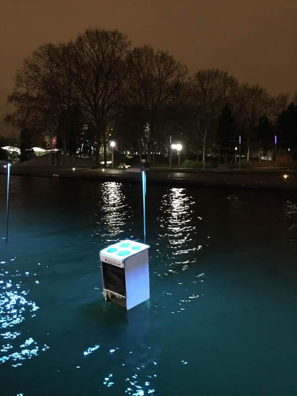 Gazinière, L'eau qui dort, Michael Pinsky, canal de l'Ourcq, , parc de la Villette, Paris 19e (75)
