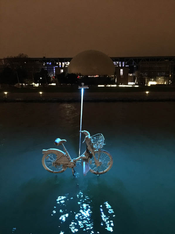 Vélib', L'eau qui dort, Michael Pinsky, canal de l'Ourcq, parc de la Villette, Paris 19e (75)