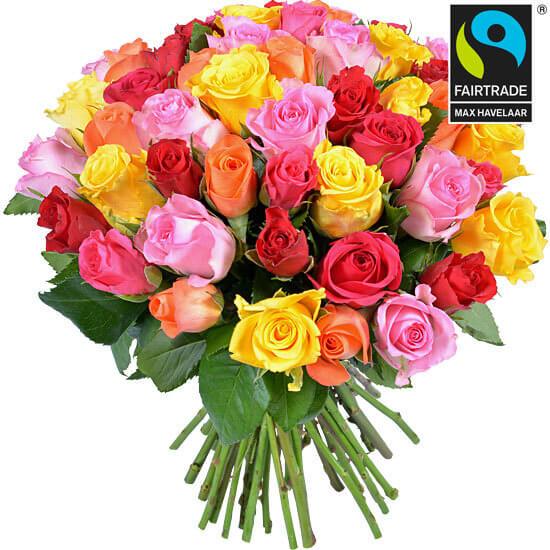Bouquet de roses équitables multicolores Aquarelle, Saint-Valentin 2018