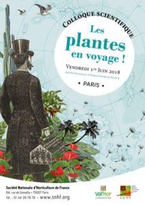 Affiche du colloque scientifique, Les plantes en voyage, SNHF, Paris (75), 1er juin 2018