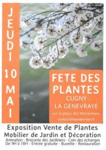 Affiche de la 10ème édition de la Fête des Plantes, Cugny La Genevraye (77), 10 mai 2018