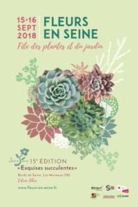 Affiche Fleurs en Seine 2018, Les Mureaux (78), 15 et 16 septembre 2018