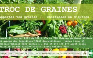 Troc de graines, de plantes et de conseils de jardinage, Gennevilliers (92), samedi 19 janvier 2019