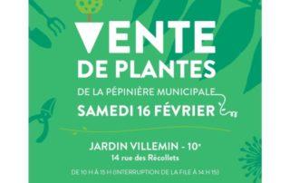 Vente de plantes de la pépinière municipale, Jardin Villemin, Paris 10e (75), février 2019