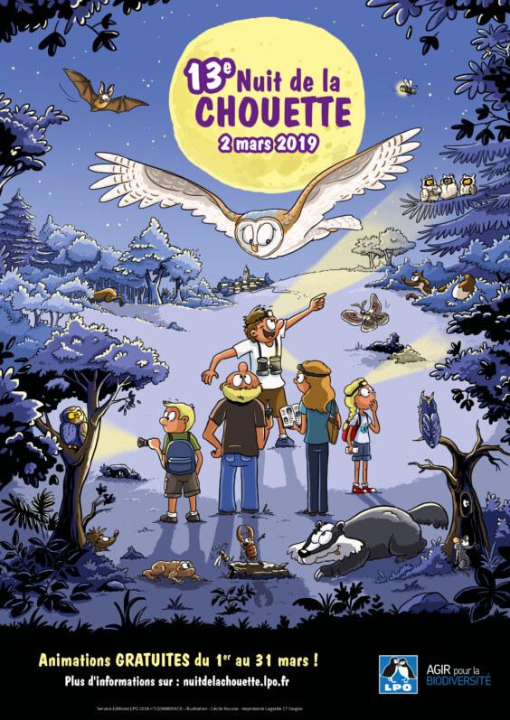 Affiche de la 13ème Nuit de la Chouette, LPO, mars 2019