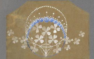 Joseph Chaumet, atelier de dessin. Projet de broche lavis et réhauts de gouache sur papier translucide, vers 1910 Collection Chaumet