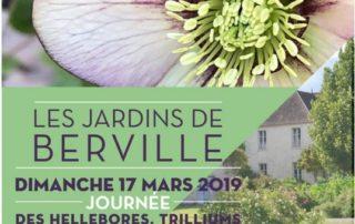 Affiche de la Journée des hellébores, trilliums et arbustes d'hiver, Les Jardins de Berville, mars 2019