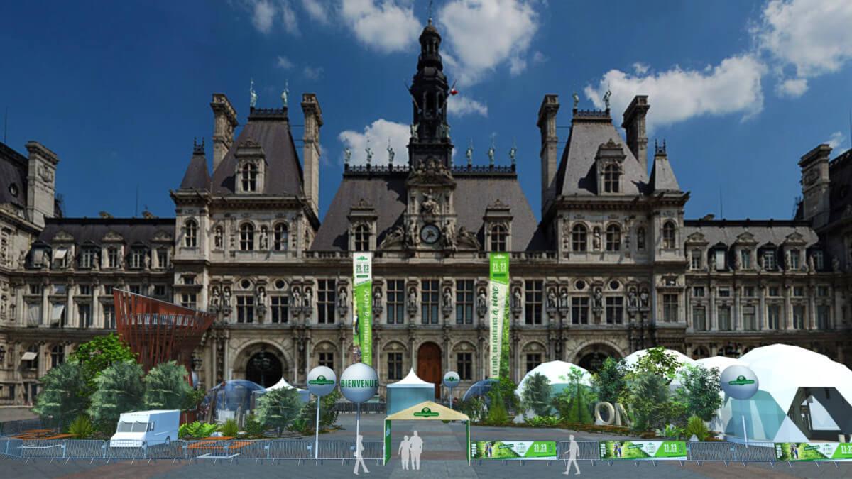 Vue 3D de la place de l'Hôtel de Ville, Paris, ONF, mars 2019