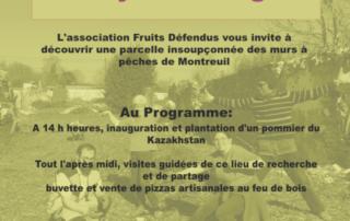 Affiche de la Fête d'inauguration d'un jardin verger à Montreuil le 30 mars 2019