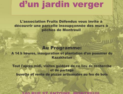 Fête d'inauguration d'un jardin verger à Montreuil le 30 mars 2019