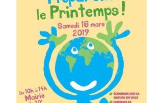 Affiche, Préparons le printemps, Mairie du 20ème, Paris, 16 mars 2019