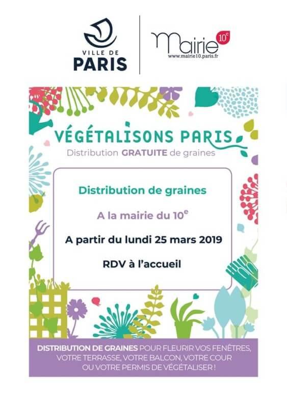Distribution de graines à la Mairie du 10e arrondissement de Paris, mars 2019