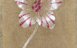 Joseph Chaumet (1852-1926), atelier de dessin. Projet de broches tulipe. Lavis et rehauts de gouache sur papier translucide, vers 1890 - Collection Chaumet