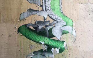 Serpent et rose, collage, street art, Villa Marcès, Paris 11e (75)