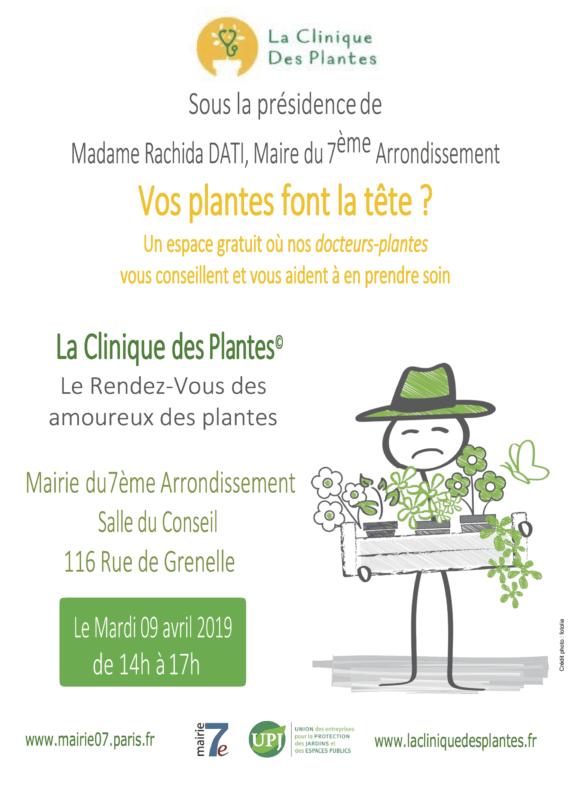 Affiche Clinique des Plantes, Paris 7e (75), avril 2019