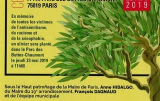 Cérémonie « Ne t'éloigne pas de l'Olivier », Paris 19e (75), mai 2019