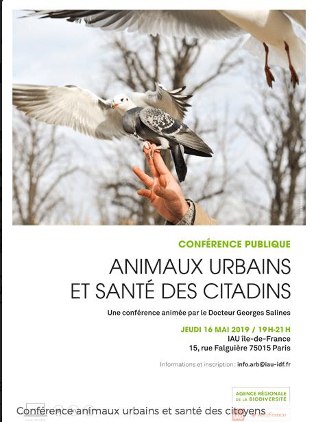 Conférence publique Animaux urbains et santé des citadins, ARB Île-de-France, Paris (75), mai 2019