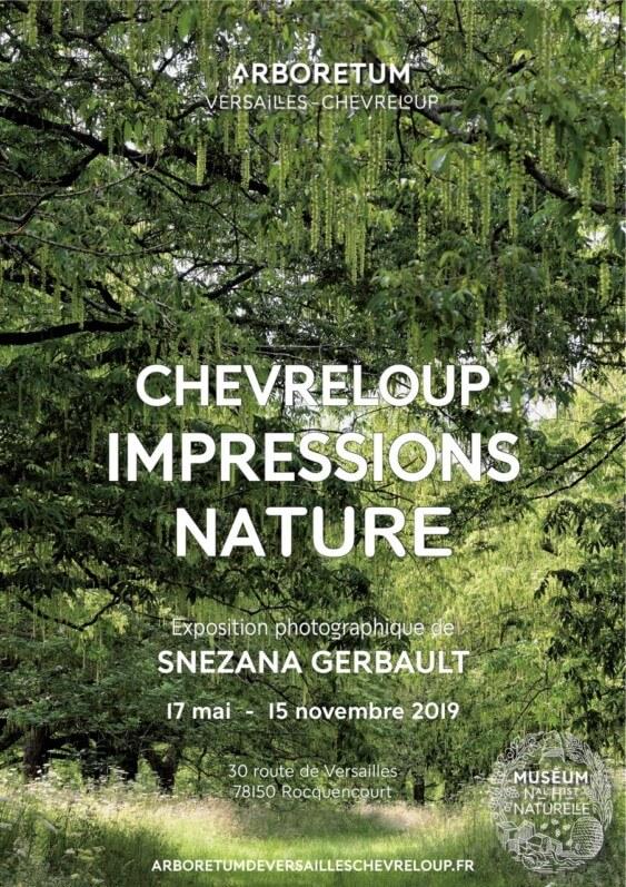 Affiche de l'exposition Impressions Nature, photos Snezana Gerbault, Arboretum de Versailles Chèvreloup (78)