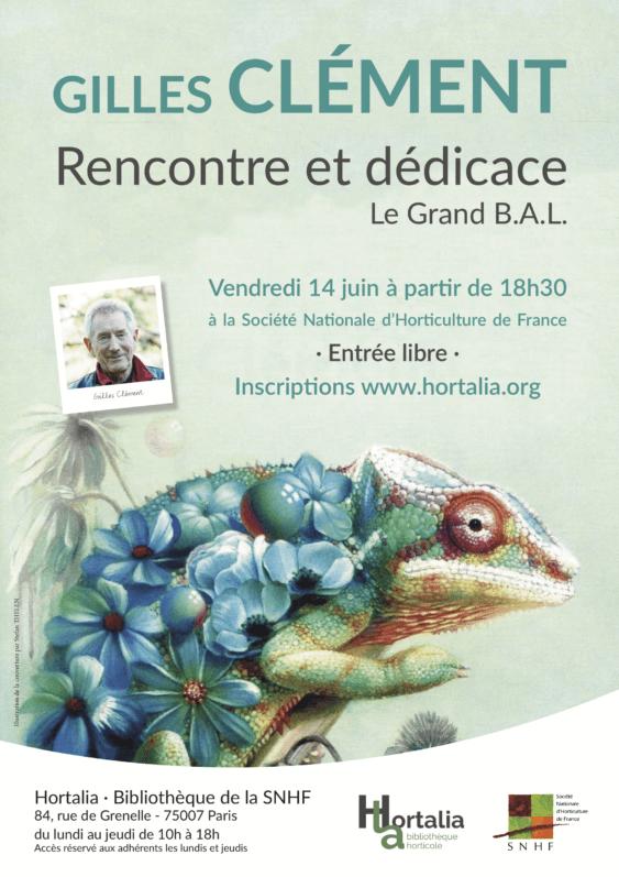 Rencontre et dédicace avec Gilles Clément, Hortalia, bibliothèque de la SNHF, Paris, vendredi 14 juin 2019