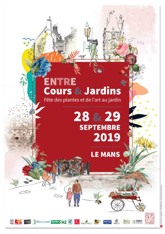 affiche, 28 et 29 septembre 2019, Entre Cours & Jardins, Le Mans (72)