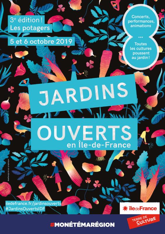 Affiche, les 5 et 6 octobre 2019, Jardins Ouverts en Île-de-France