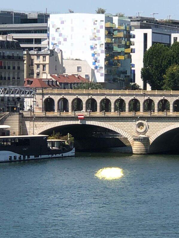 Reflet doré sur la Seine près du quai de la Gare, Paris 13e (75)