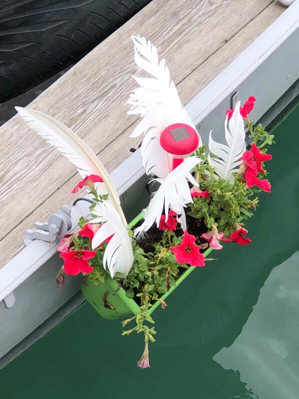 Barque fleurie, jardinière de pétunias, Annecy (74)