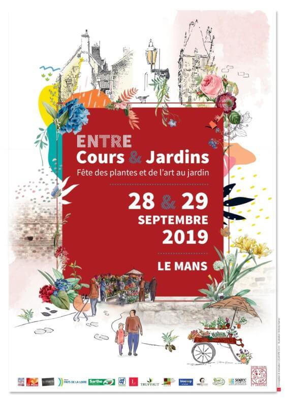 Affiche Entre Cours et Jardins, Le Mans (72), septembre 2019