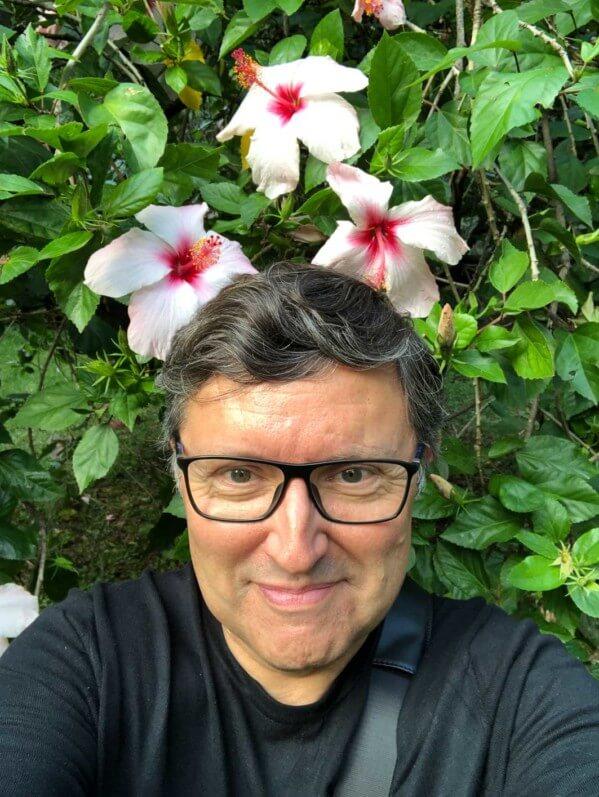 Autoportrait (selfie) d'Alain Delavie, Sicile, Italie