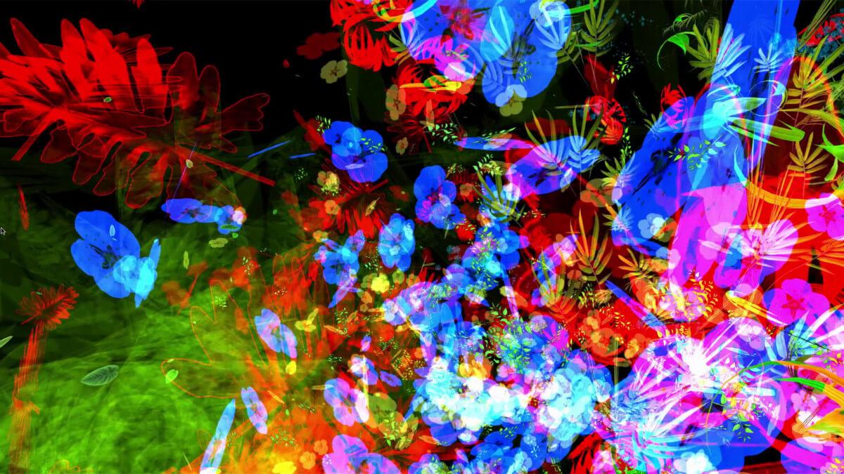 Miguel CHEVALIER, Trans-Nature, 2019, œuvre de réalité virtuelle, vidéo 57 mn, présentée sur écran LCD 60 pouces © Miguel Chevalier