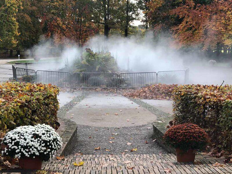 Brume, chemin de l'évolution en automne dans le parc floral, Paris 12e (75)