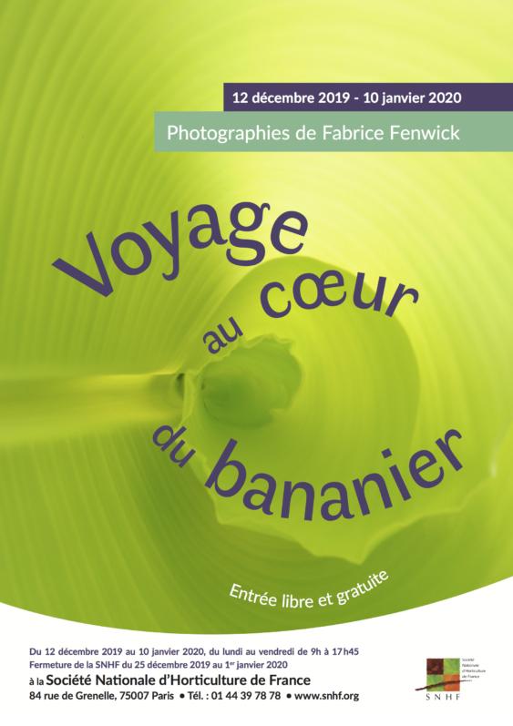 """Affiche de l'exposition """"Voyage au coeur du bananier"""", SHNF, Paris 7e (75), décembre 2019 - janvier 2020"""