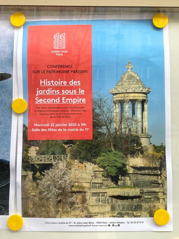 """Affiche de la Conférence """"Histoire des jardins sous le Second Empire"""", Salle des fêtes de la Mairie du 11e, Paris (75), 22 janvier 2020"""