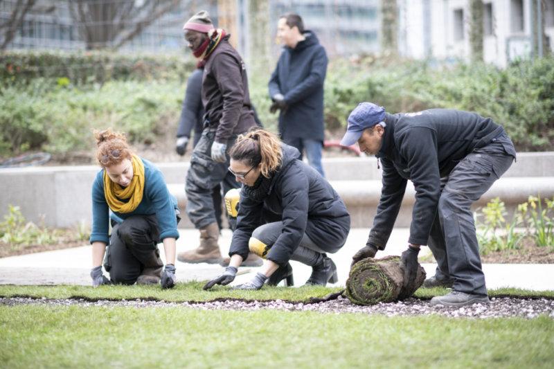 Sur l'Esplanade le mercredi 15 janvier 2020, livraison d'un premier tronçon du projet du Parc, Paris La Défense, photo Carlos Ayesta