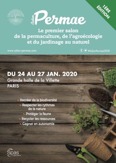 Affiche du salon Permae, Permaculture, agroécologie, jardinage au naturel, Grande Halle de la Villette, Paris 19e (75), janvier 2020