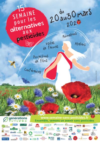 Affiche de la 15ème Semaine pour les alternatives aux pesticides, Toute la France, du 20 au 30 mars 2020