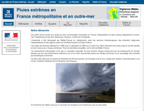 Pluies extrêmes : un site internet dédié aux épisodes de pluies remarquables en France