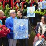 Michou, parrain de la rose République de Montmartre et le jour de son anniversaire, Clos Montmartre, Paris 18e (75), 18 juin 2011, photo Alain Delavie